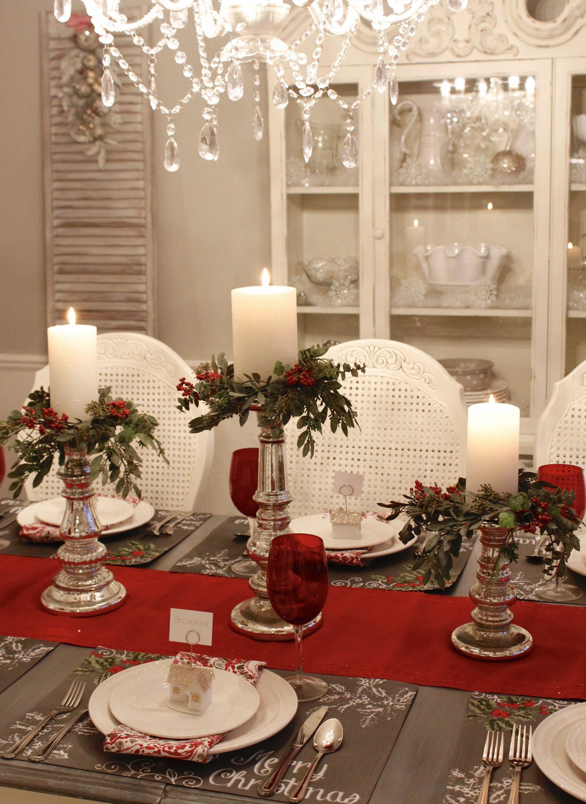 Seven Gorgeous Christmas Tablescape Ideas  Red christmas decor  - Xmas Dining Room Ideas