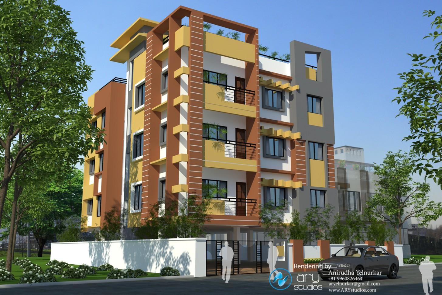 Shutter Line: Exterior Architectural Rendering Building Design  - Apartment Exterior Design India