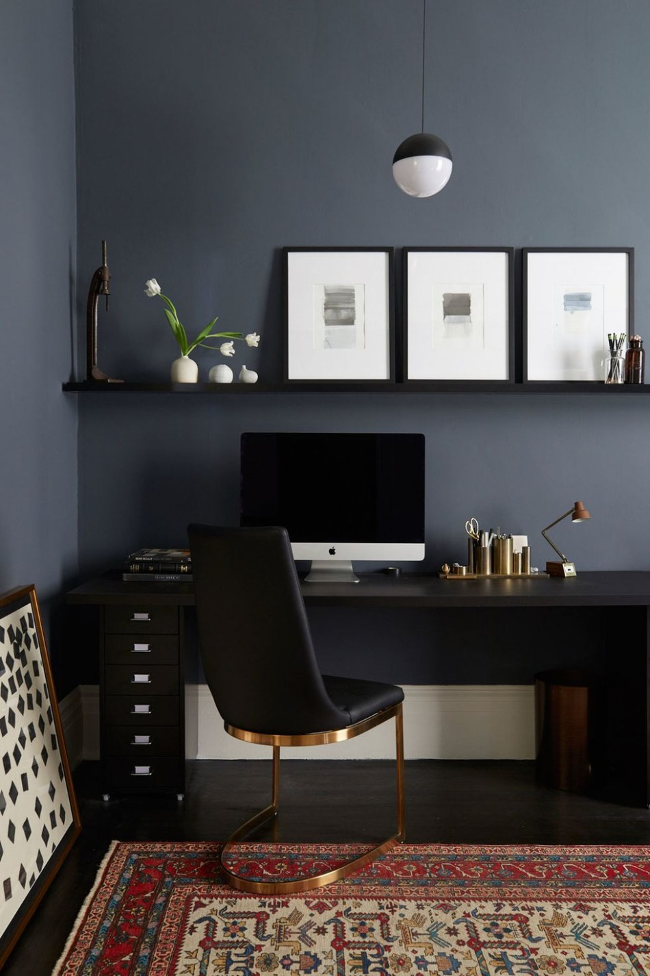 Simple black colored home office  Office interior design, Modern  - Home Office Ideas Black