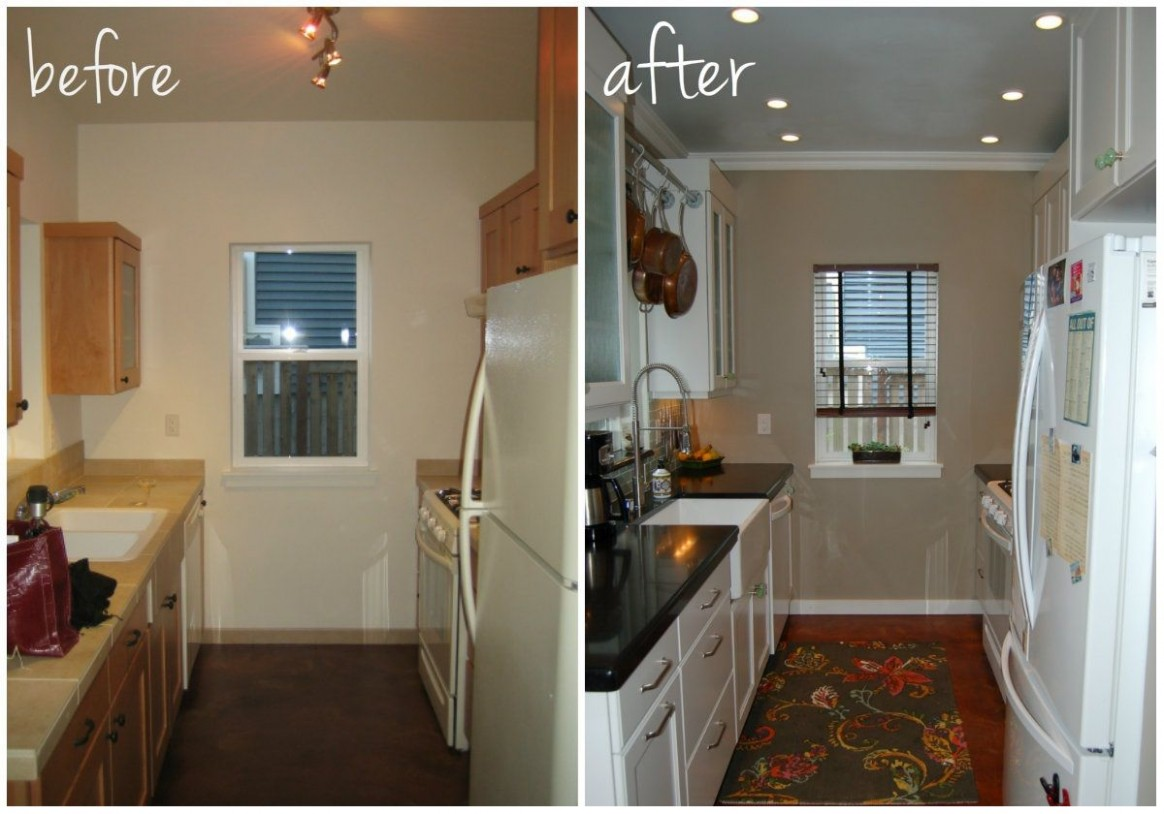 Small Kitchen DIY Makeover/remodel idea - before and after  - Diy Galley Kitchen Cabinet Ideas