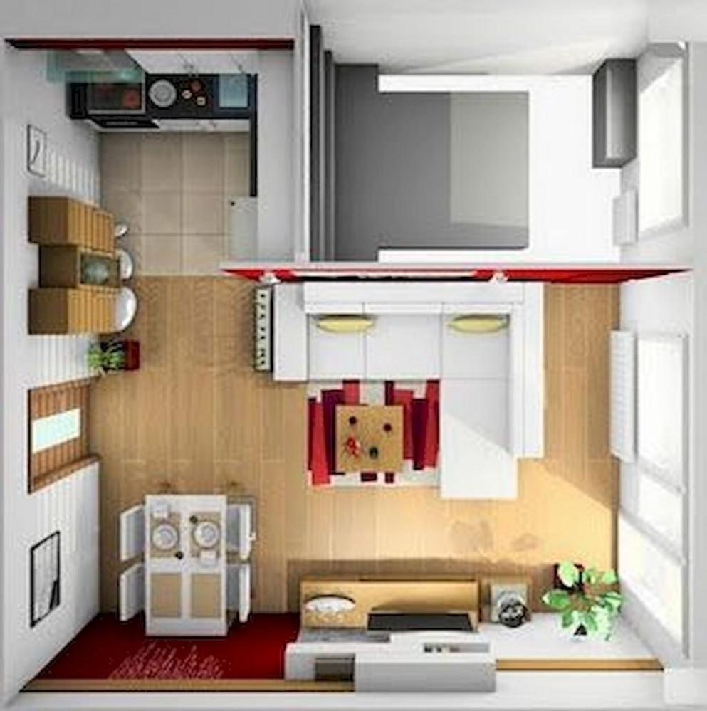 Small Studio Apartment Layout Design Ideas (10) - home design  - Design Apartment Kecil