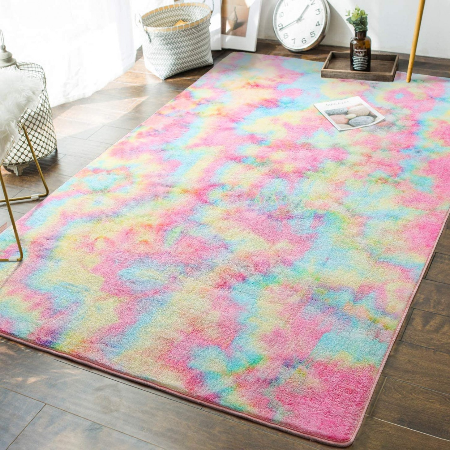 Soft Girls Room Rugs - 8 x 8 Feet Fluffy Rainbow Area Rug for Kids Baby  Room Bedroom Nursery Home Decor Large Floor Carpet by , Multi - Baby Room Carpet