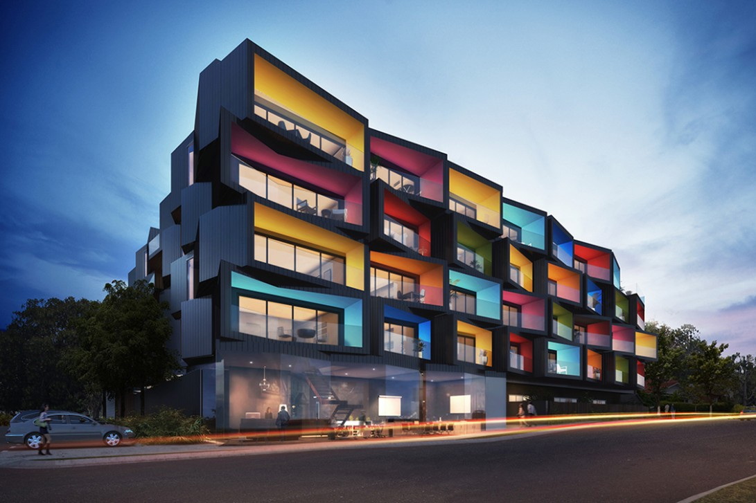 Spectrum Apartments break the rules with its geometrically  - Apartment Design Facade