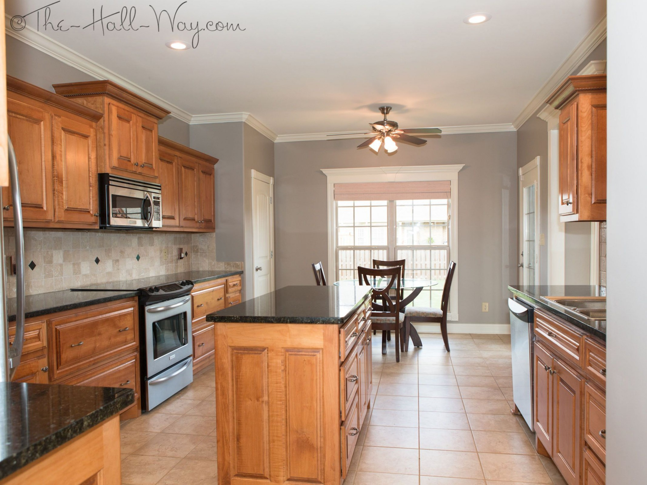 Summer Tour Of Homes  Kitchen wall colors, Honey oak cabinets  - Maple Kitchen Cabinets And Taupe Walls