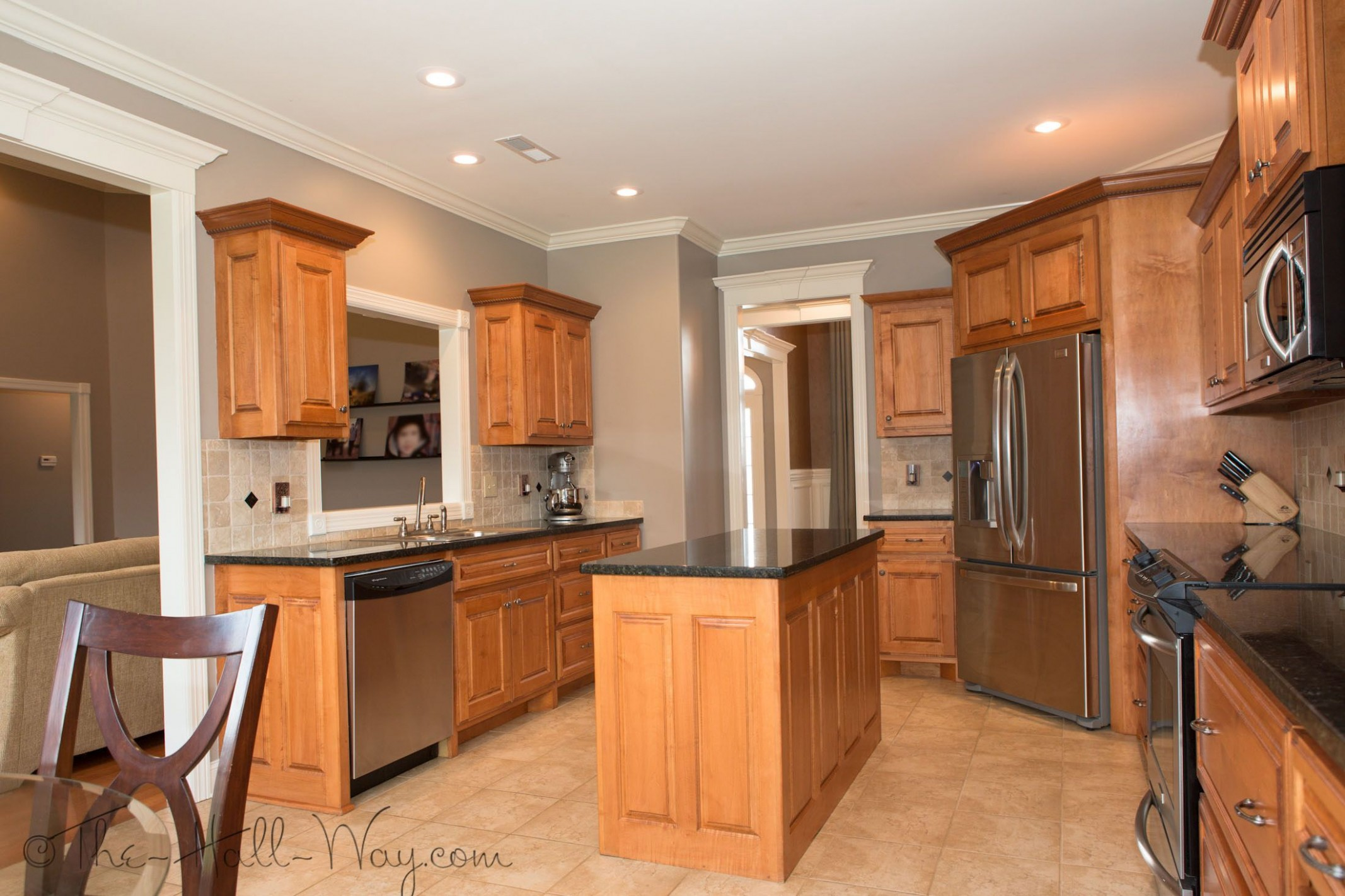 Summer Tour Of Homes  Kitchen wall colors, Maple kitchen cabinets  - Maple Kitchen Cabinets And Taupe Walls