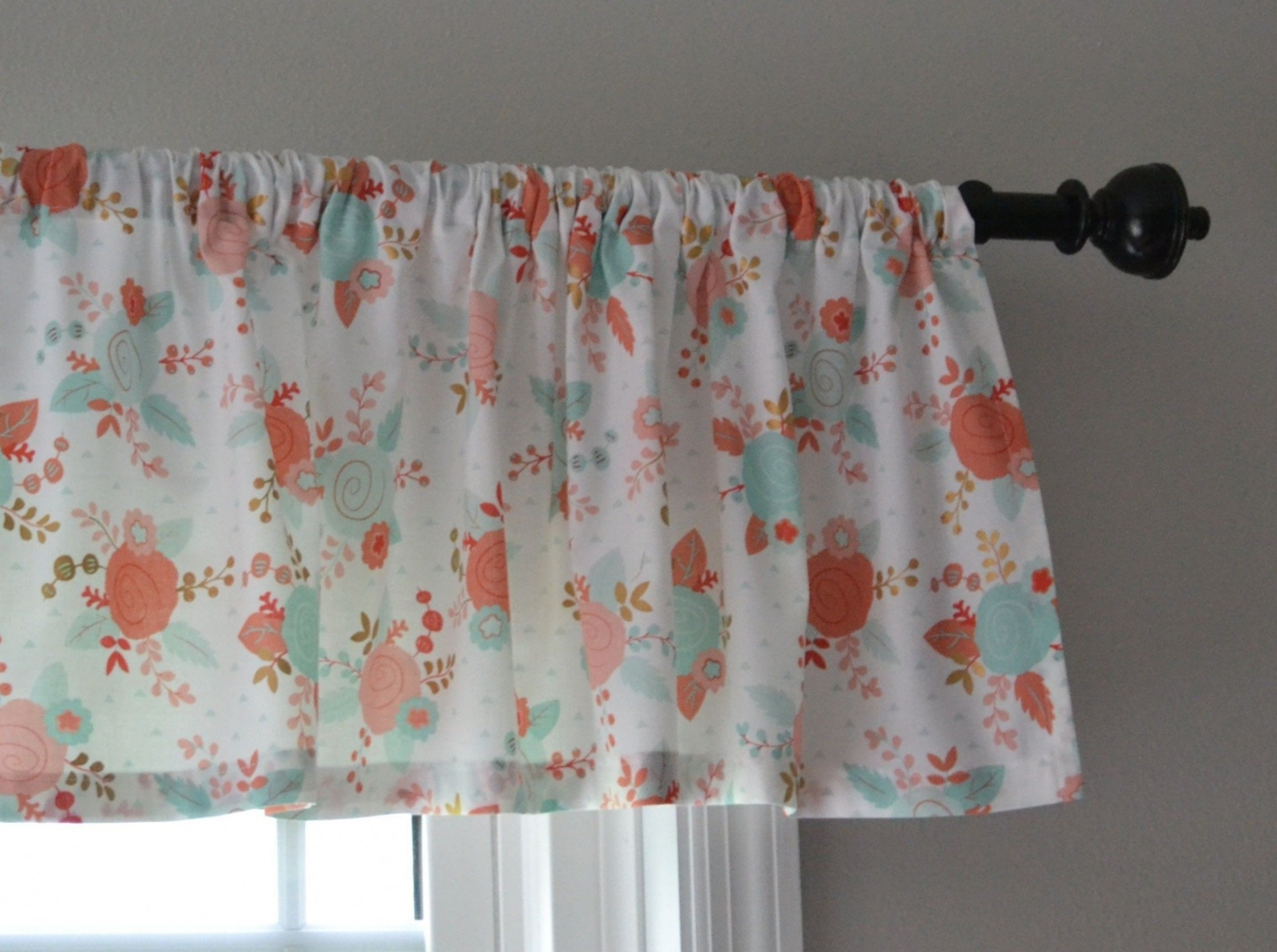 Sweet Coral and Mint Green Valance for Baby Room  Valance, Baby  - Baby Room Valances