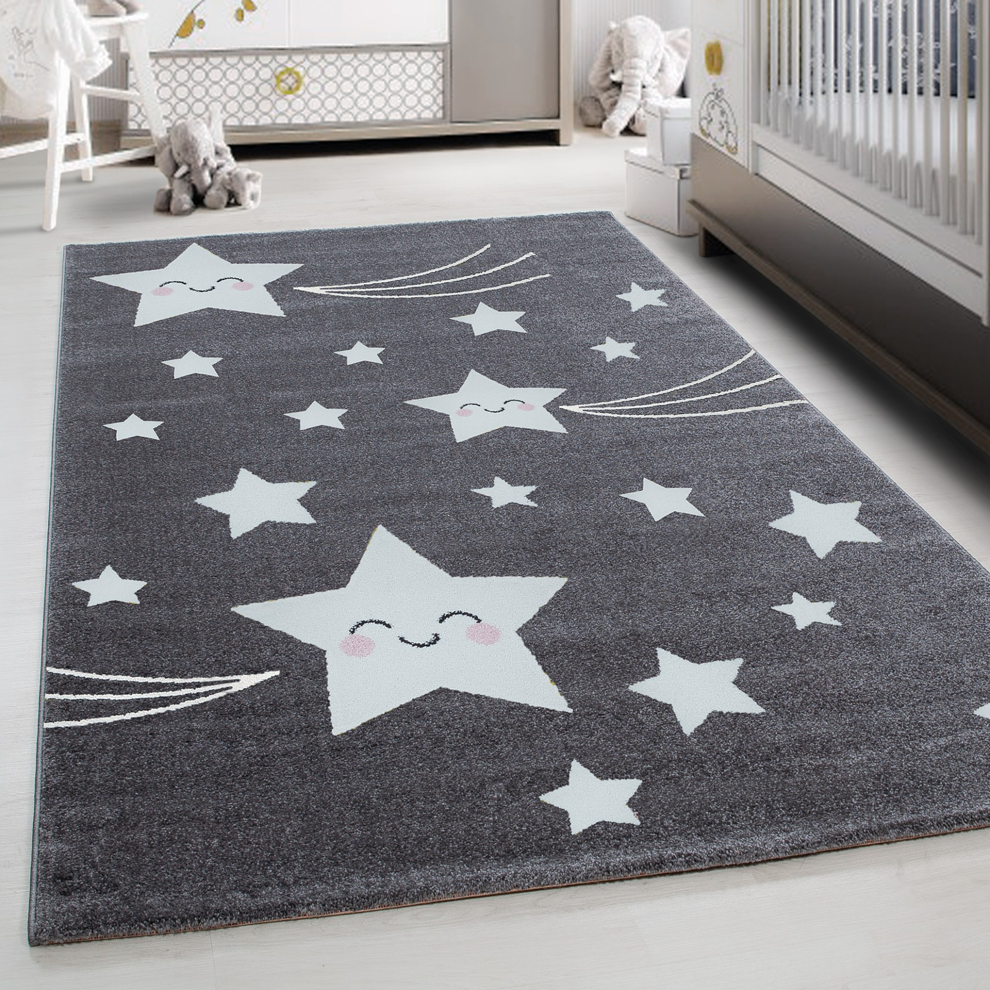 TEPPIUM Kids Play Mat rug Baby Room Carpet with Stars Grey carpet  Ceres  Webshop - Baby Room Carpet