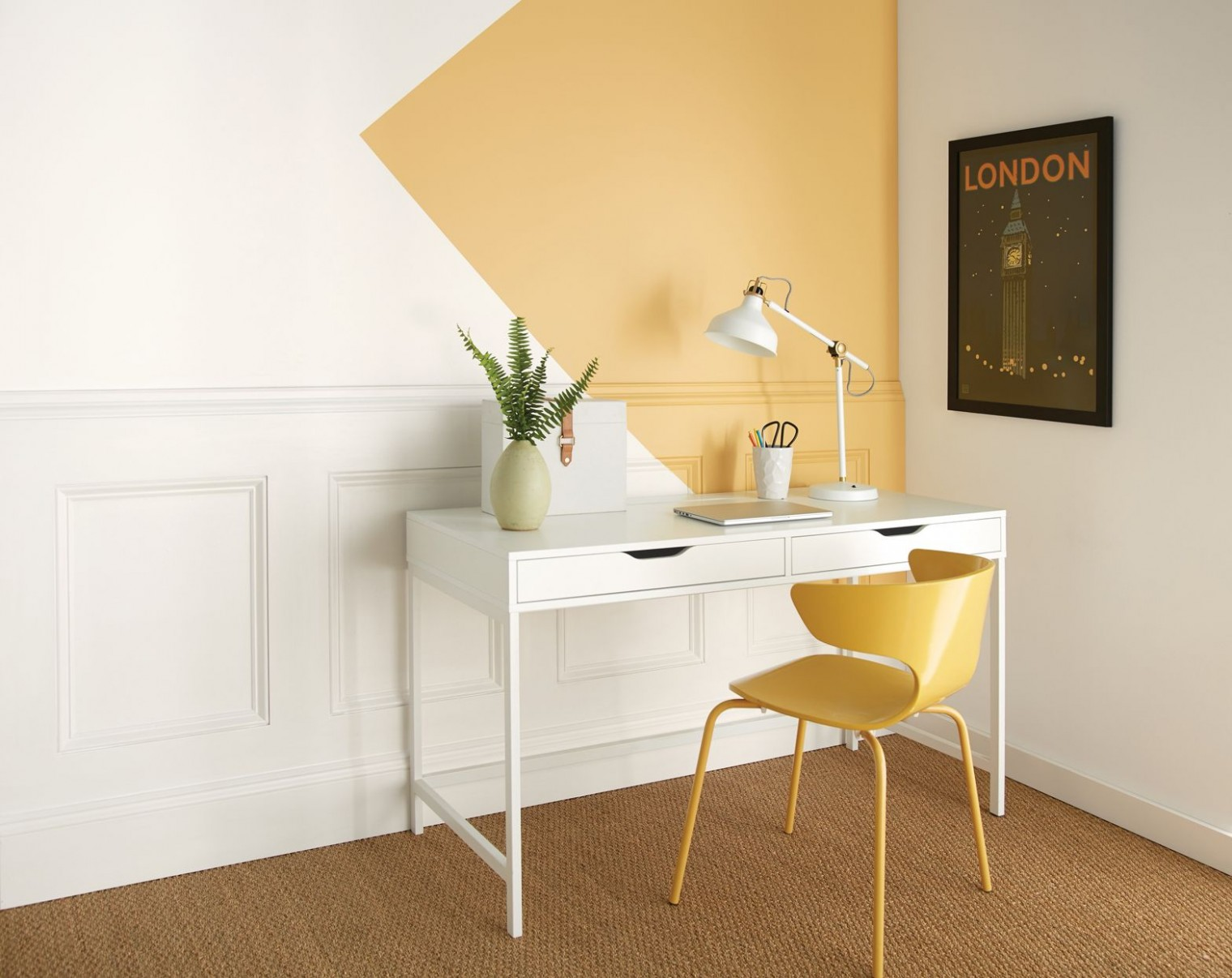 The Best Paint Colors for Your Home Office in 9  Office wall  - Yellow Home Office Decorating Ideas