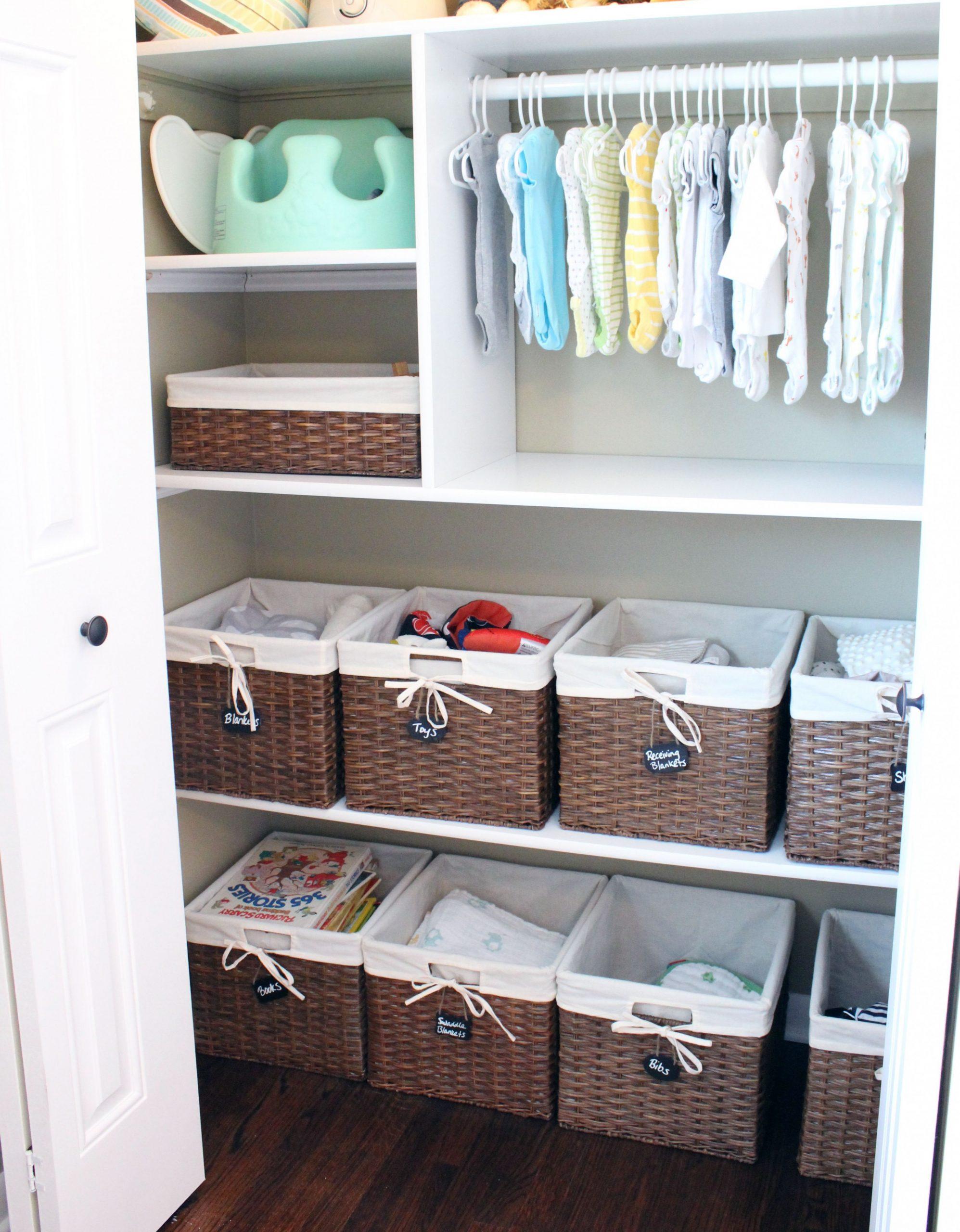 The Nursery Reveal  Baby closet organization, Nursery closet  - Baby Room Storage Ideas