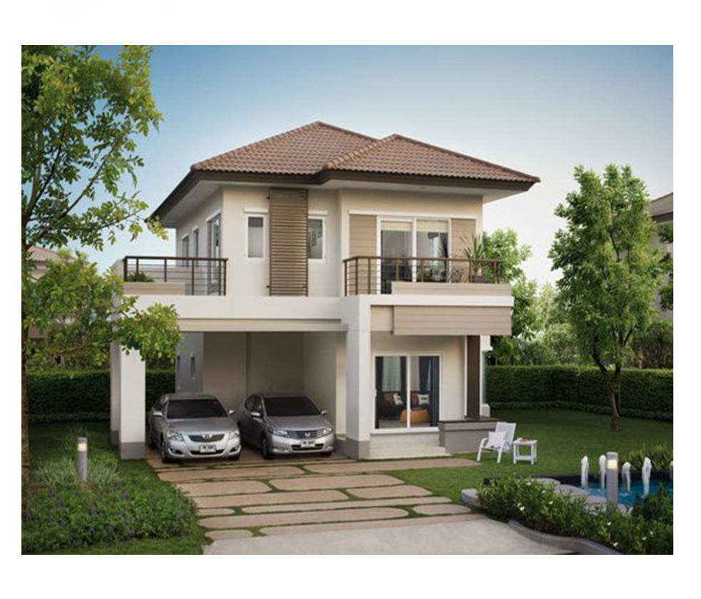 The small two-story house is one of the most popular house design  - Apartment Design Two Storey