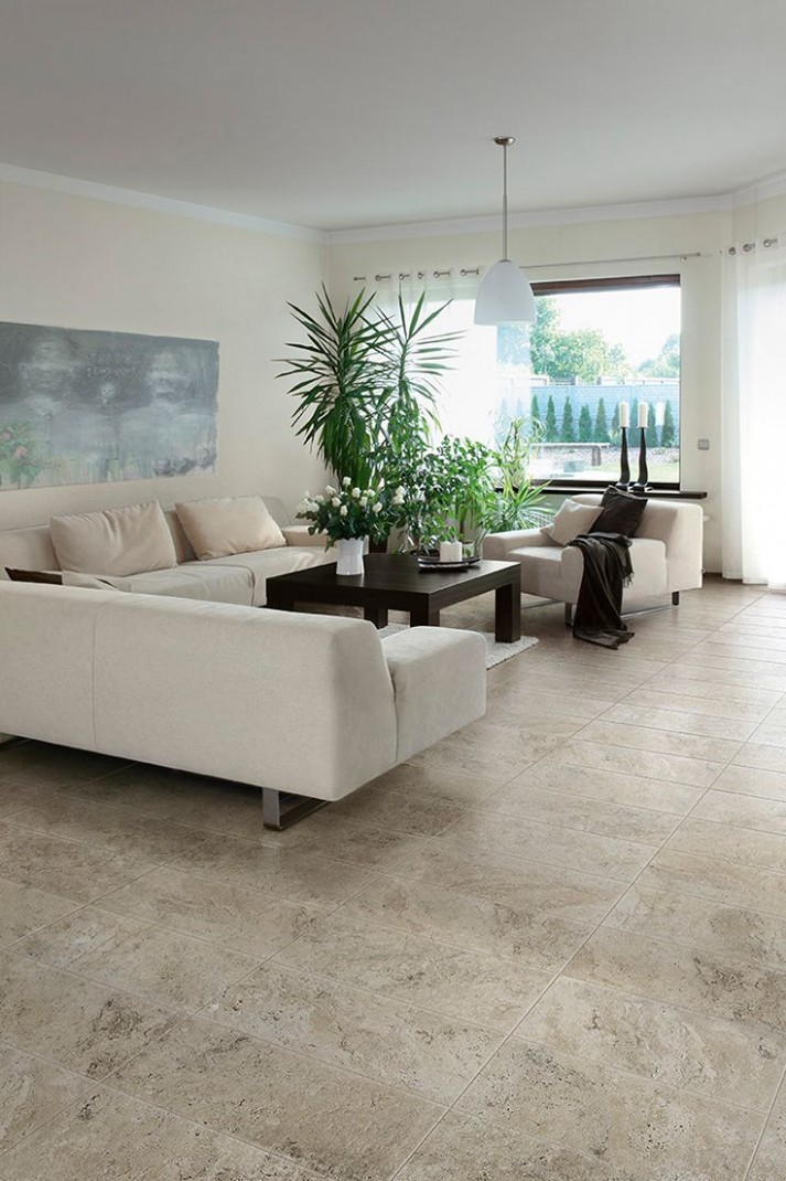 The Travisano collection is porcelain tile designed with the look  - Dining Room Ideas Tile Floor