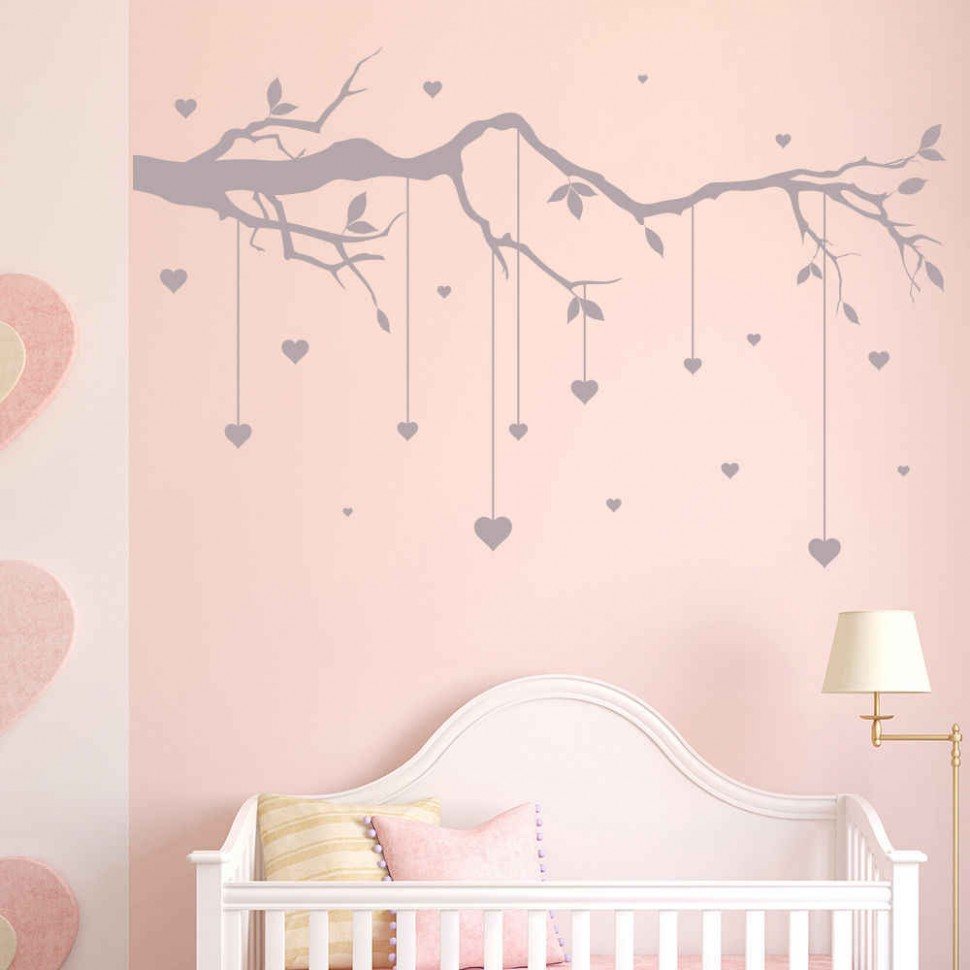Tree Branch Cot Mobile Wall Stickers Heart Wall Decal Baby Nursery Decor  New Arrivals Wallpaper High Quality Wall Tattoo SA9 - Baby Room Stickers