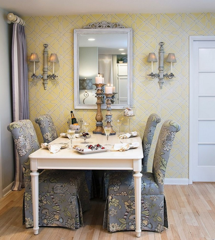 Trendy Color Duo: 9 Dining Rooms That Serve up Gray and Yellow - Grey Yellow Dining Room Ideas