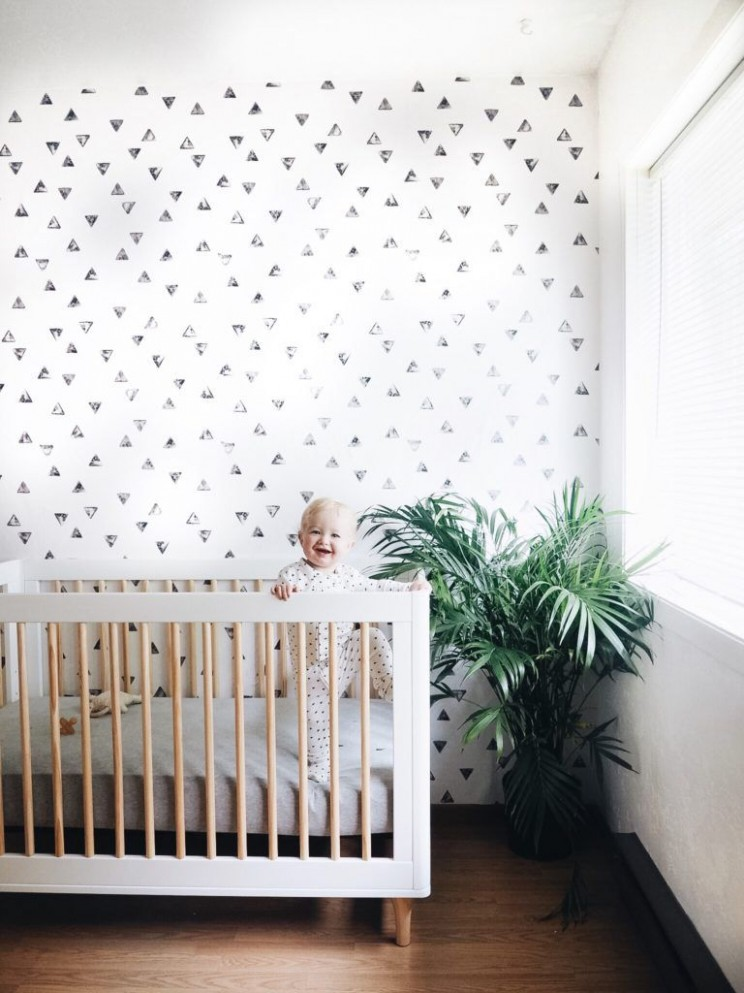triangle removable wall paper // chasing paper  Nursery wallpaper  - Baby Room Wallpaper Ideas