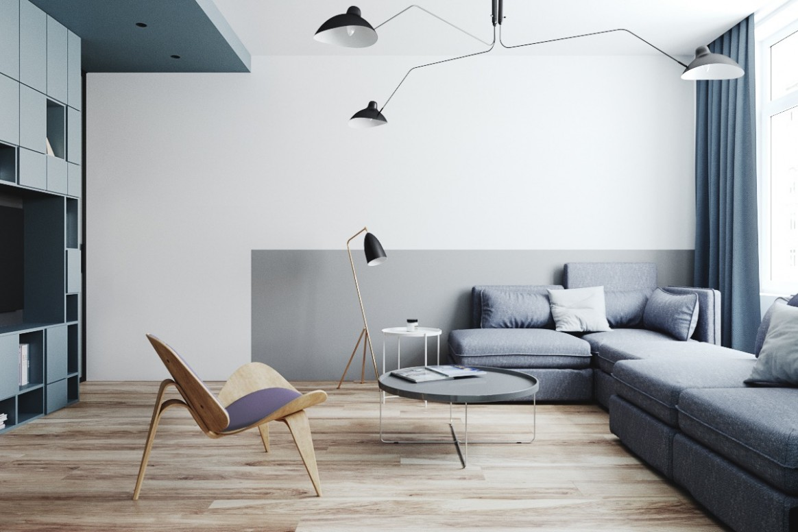 Two Small Apartments: A Blue Oasis of Minimalist Living - Apartment Design Minimalist