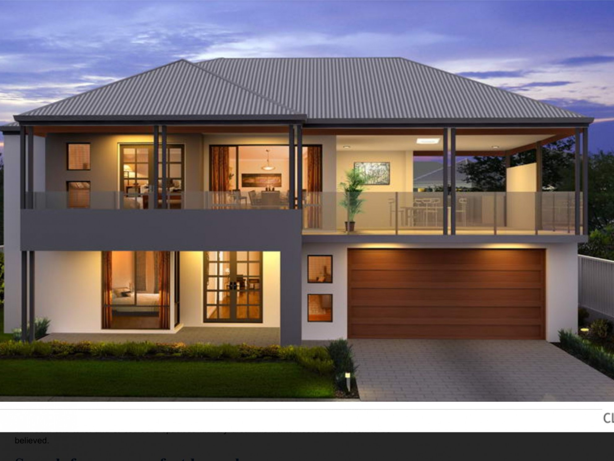 Two storey facade, grey roof, balcony over garage, glass railing  - Apartment Design Two Storey