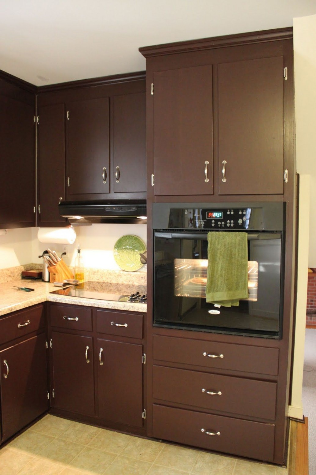 Two Tone Kitchen Cabinets Ideas Concept, with modern door design  - Brown Colored Kitchen Cabinets