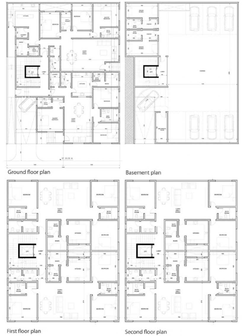 Typical apartment house floor plans