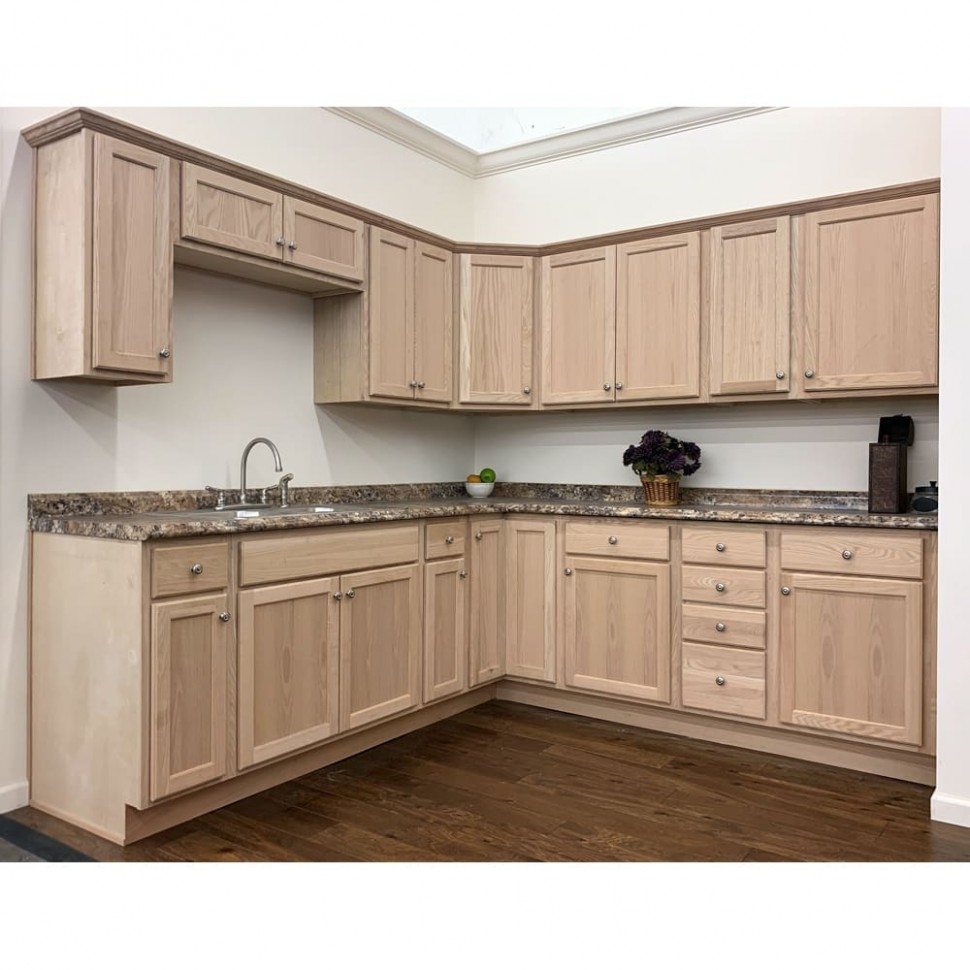 Unfinished Oak Cabinets - 24 Kitchen Cabinet Base Box Only Natural Wood