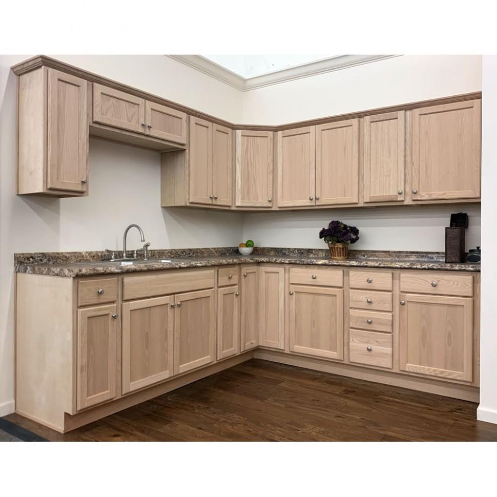 Unfinished Oak Cabinets - 24 Kitchen Cabinet Base Box Only Natural Wood