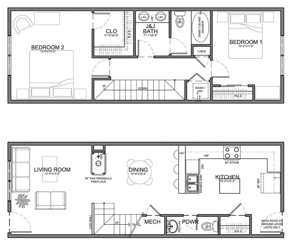Very Narrow Unit Plans for Apartments, Townhomes and Condos  - Apartment Unit Design