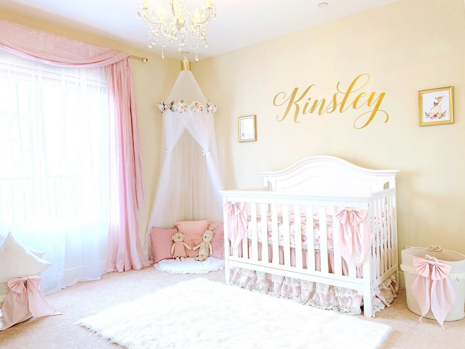 VIDEO} Nursery Reveal!  Pink & Gold Baby Girl Room Tour - The  - Baby Room Video