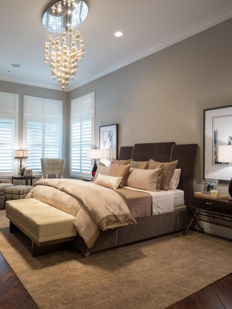 Warm, Neutral Bedroom Boasts Whimsical Chandelier  Brown bedroom  - Bedroom Ideas Brown