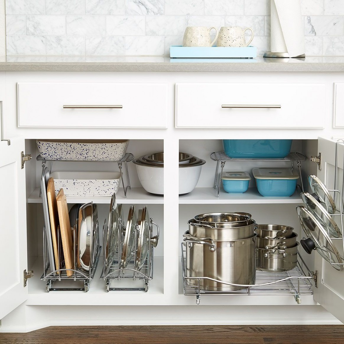 When it comes to lower cabinet organization in your kitchen, look  - How To Place Items In Kitchen Cabinets