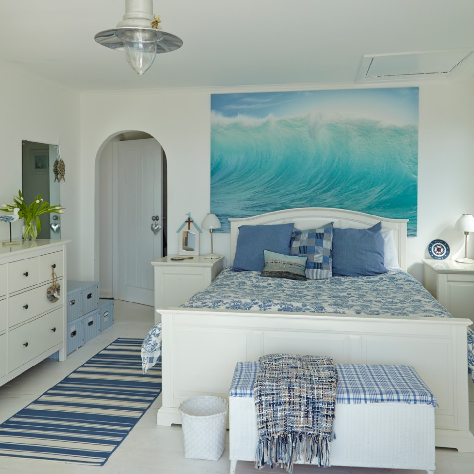 White bedroom ideas with wow factor  Ideal Home - Bedroom Ideas Blue And White