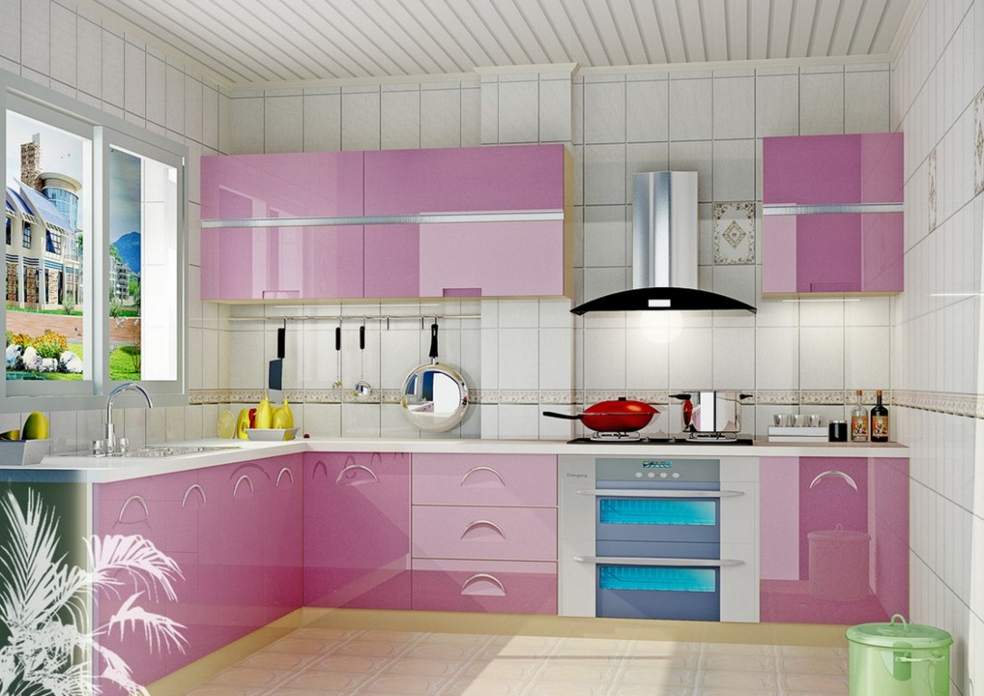 White Kitchen with Pink & Purple Appliances – Amazing Architecture  - Pink And Purple Kitchen Cabinets