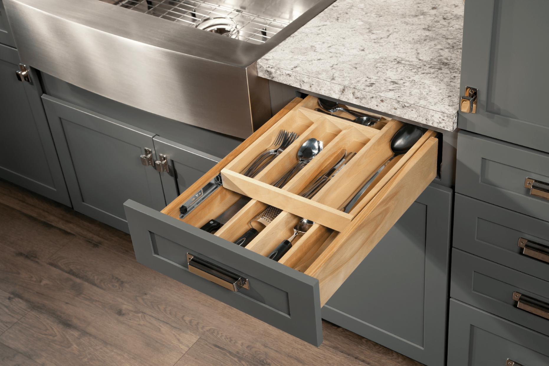 Wood Tiered Drawer Storage - Cardell Kitchen Cabinet Accessories - Kitchen Cabinet Accessories That Are Popular