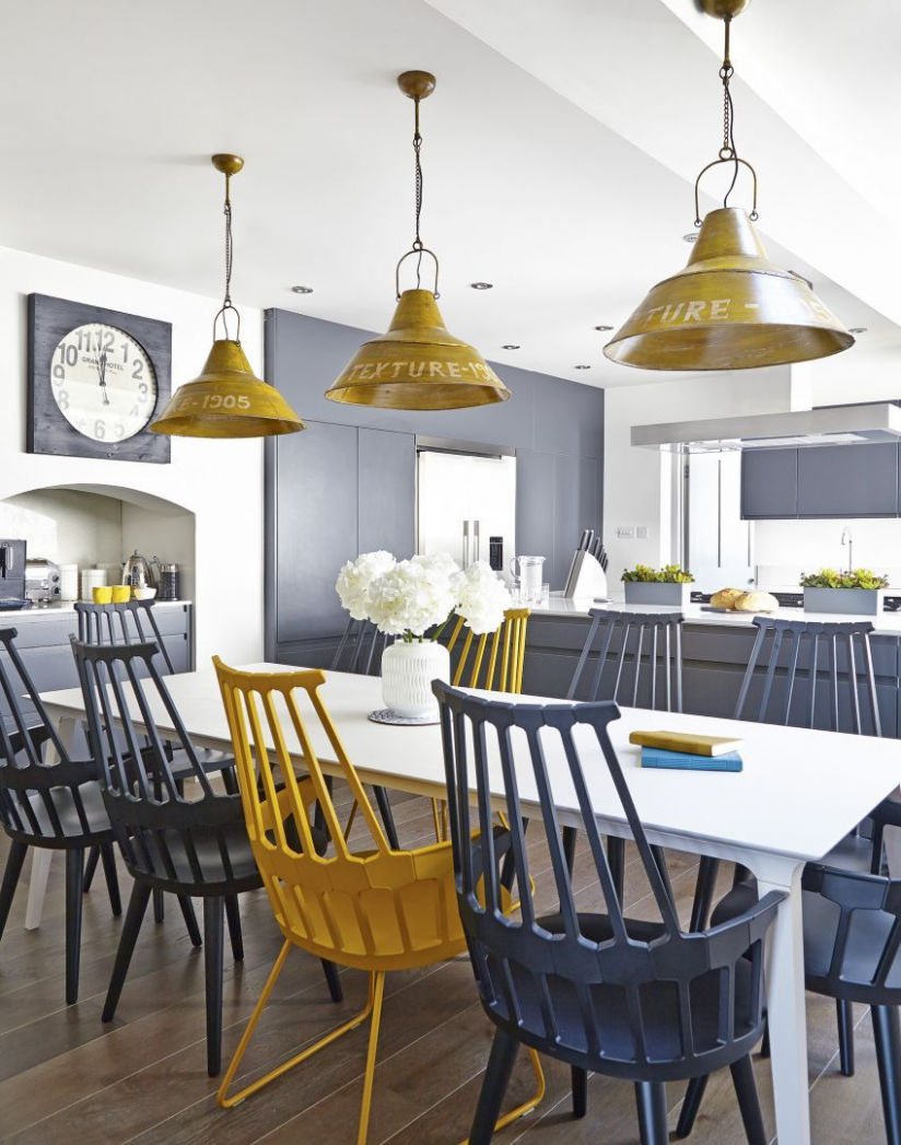 yellow and grey kitchen decor ideas in 9  Yellow dining room  - Grey Yellow Dining Room Ideas