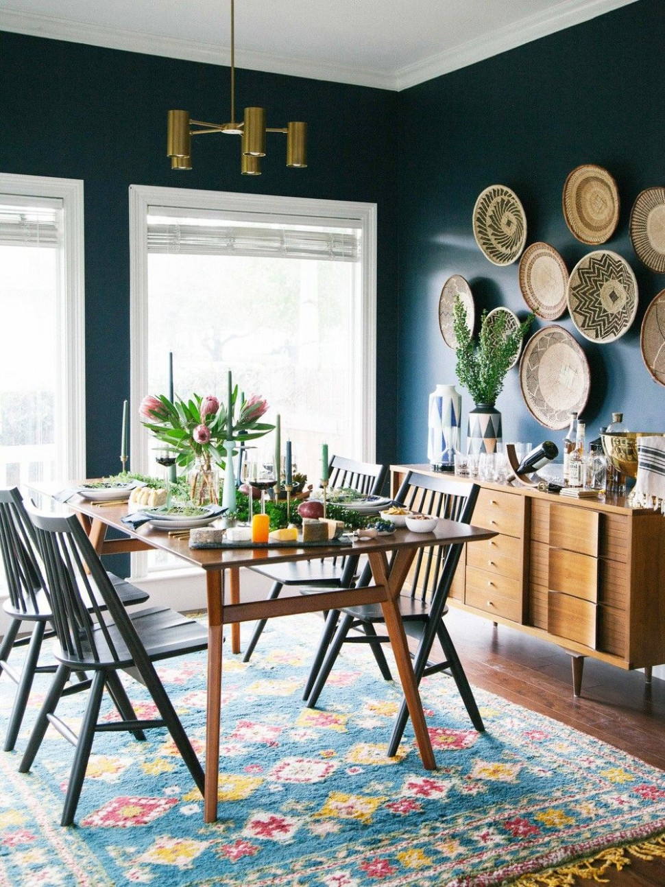10 Beautiful Bohemian Dining Rooms We Love  Dining room blue  - Dining Room Ideas Blue Walls
