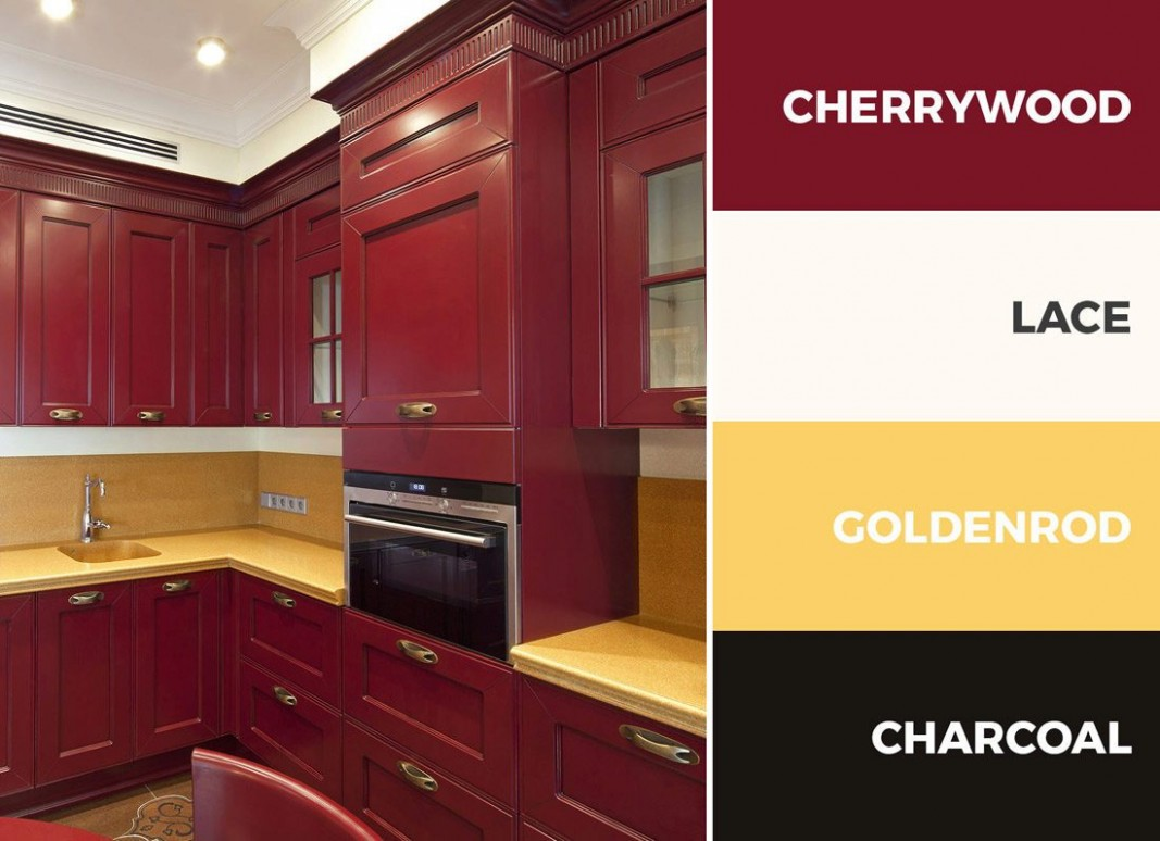 10+ Captivating Kitchen Color Schemes - Red Kitchen Walls With Dark Cabinets