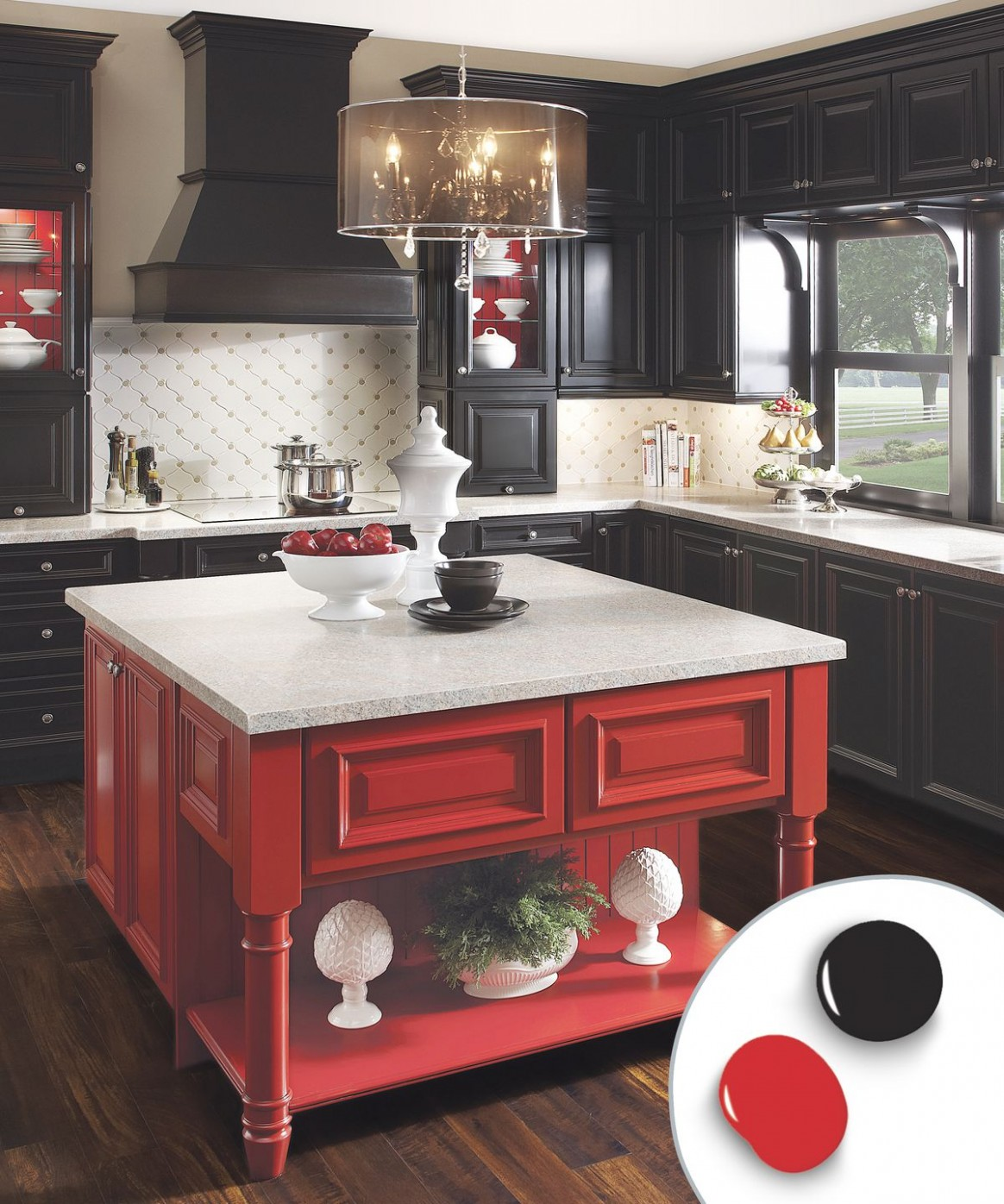 10 Kitchen Cabinet Color Ideas: Two-Tone Combinations - This Old House - Red Kitchen Walls With Dark Cabinets