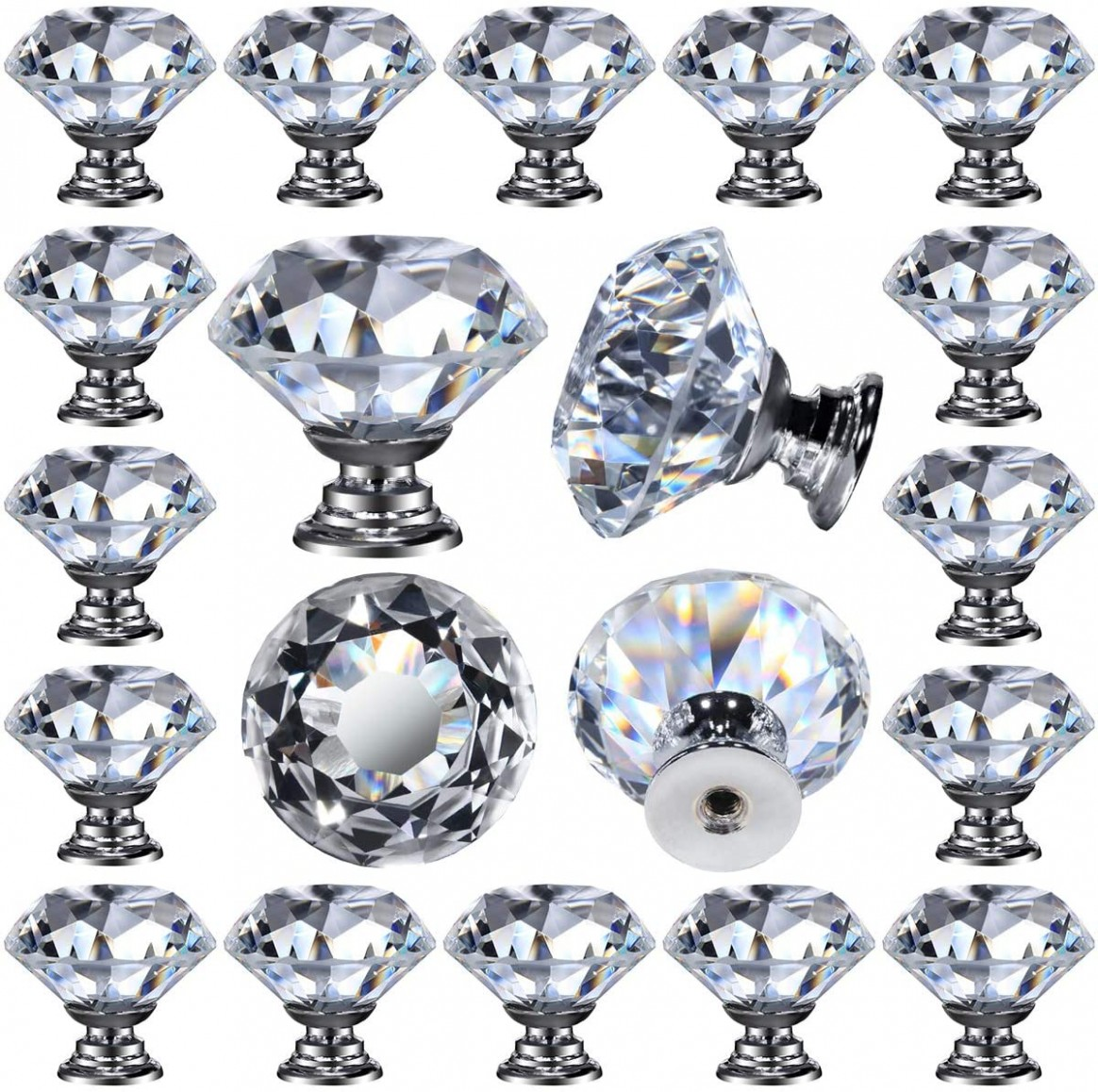 10 pcs Glass Cabinet Knobs Crystal Drawer Pulls Clear 10 mm Diamond for  Kitchen, Bathroom Cabinet, Dresser and Cupboard by DeElf - Glass Kitchen Cabinet Pulls And Knobs