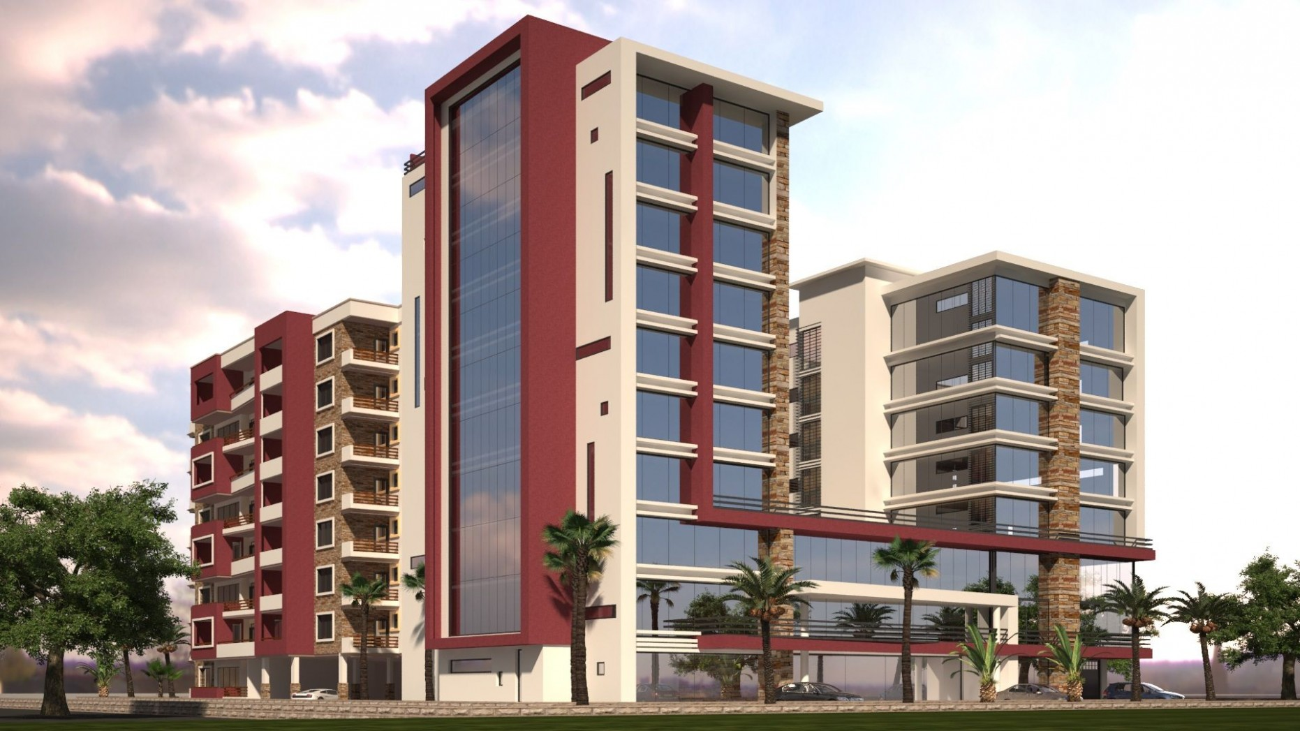 10D renders of a multi-storey Apartment complex and modern high  - Apartment Design Kenya