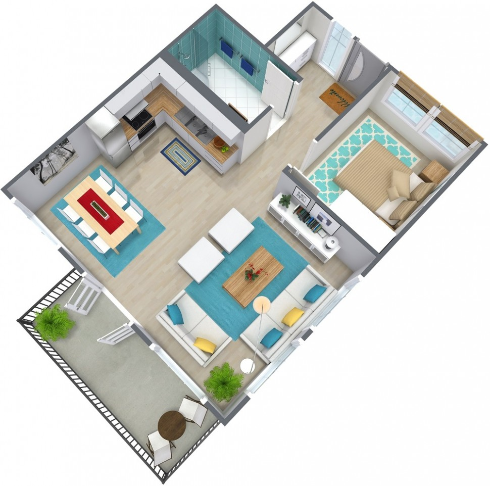 11 Bedroom Apartment Floor Plan  RoomSketcher - Apartment Design And Floor Plan