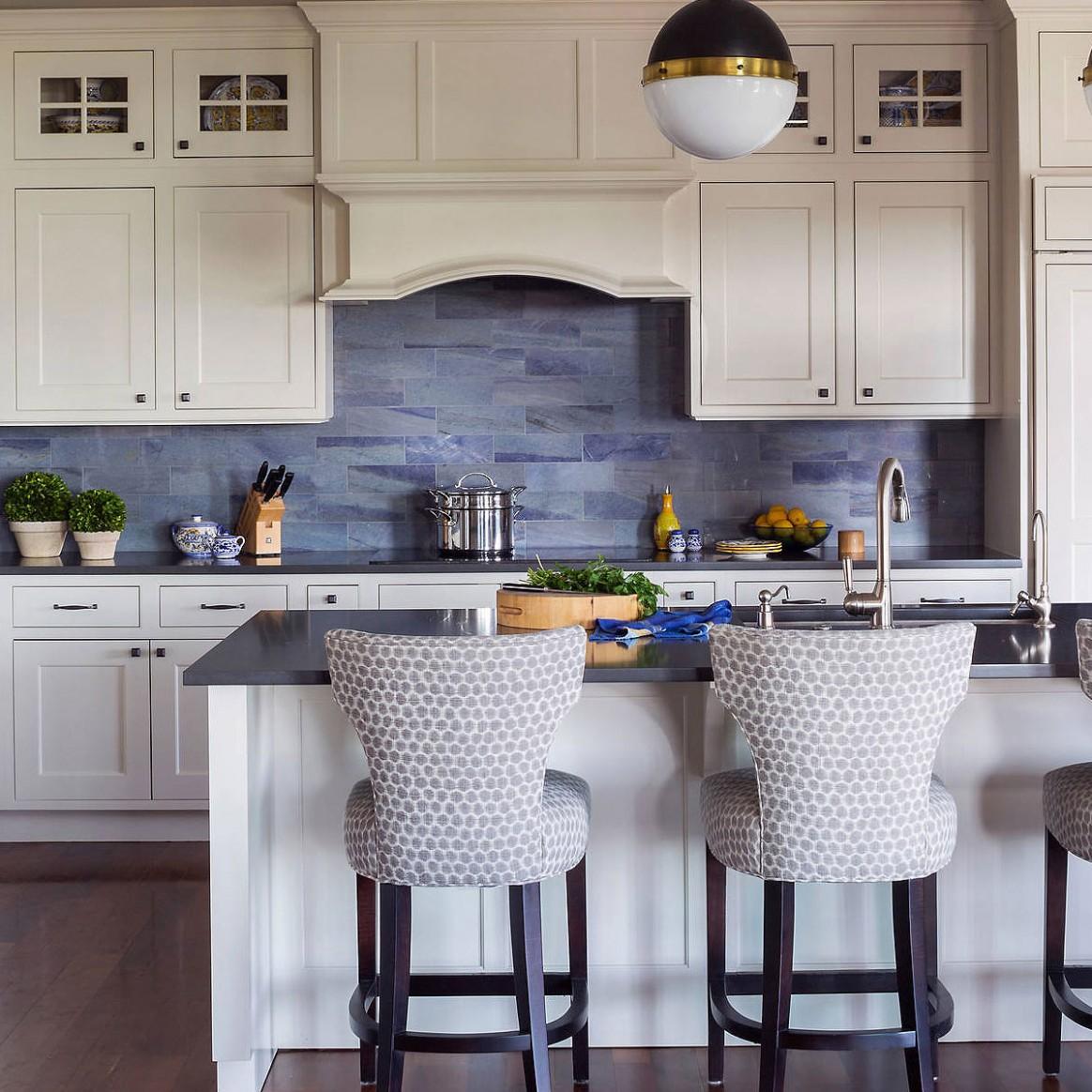 11+ Blue Backsplash Ideas ( Navy, Aqua, Royal or Coastal ) Blue Design - Gray Kitchen Cabinets With Blue Backsplash