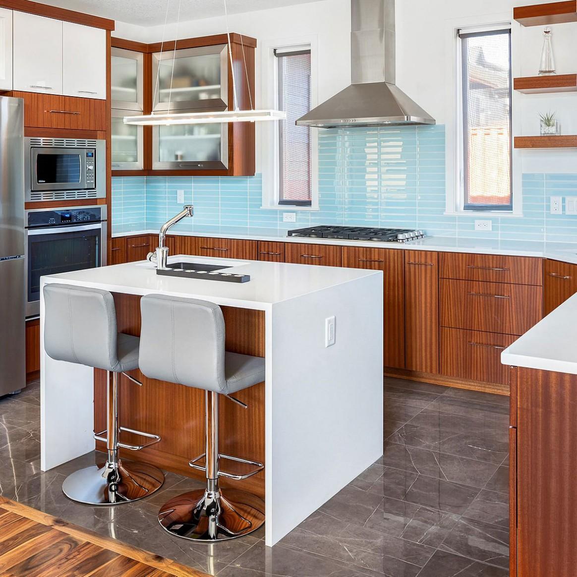11+ Blue Backsplash Ideas ( Navy, Aqua, Royal or Coastal ) Blue Design - Kitchen Backsplash With Light Wood Cabinets