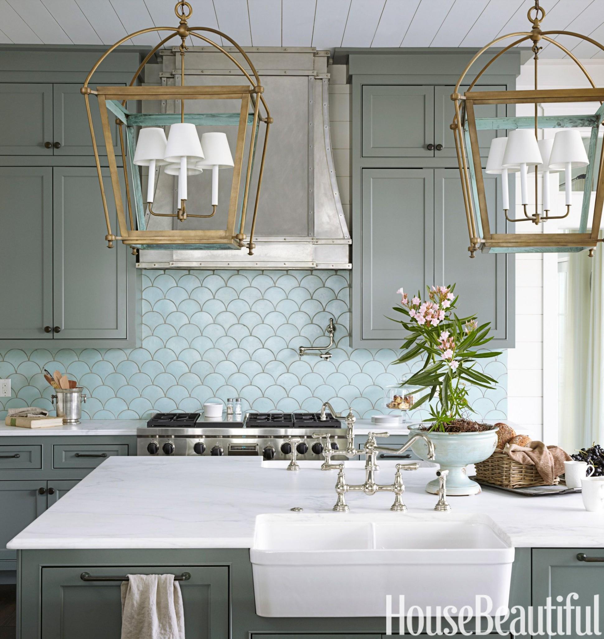 11 Blue Kitchen Design Ideas - Blue Kitchen Walls - Gray Kitchen Cabinets With Blue Backsplash