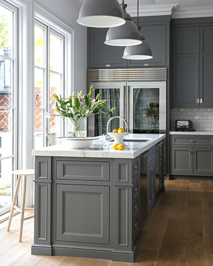 11 Stunning Gray Kitchens  Kitchen design, Transitional house  - Beautiful Kitchens With Grey Cabinets