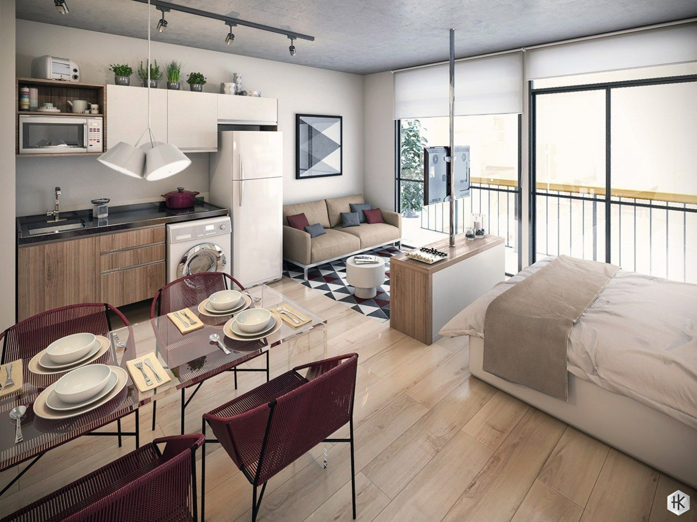 12 Small Studio Apartments With Beautiful Design  Apartment  - Apartment Design Pictures
