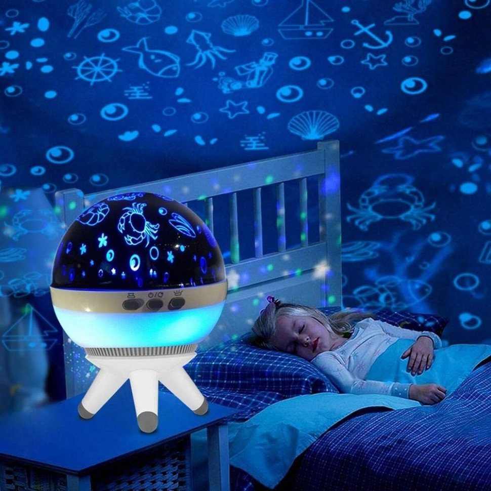 12W Romantic LED Rotating Ocean Projector Night Light For Kid  - Baby Room Projector