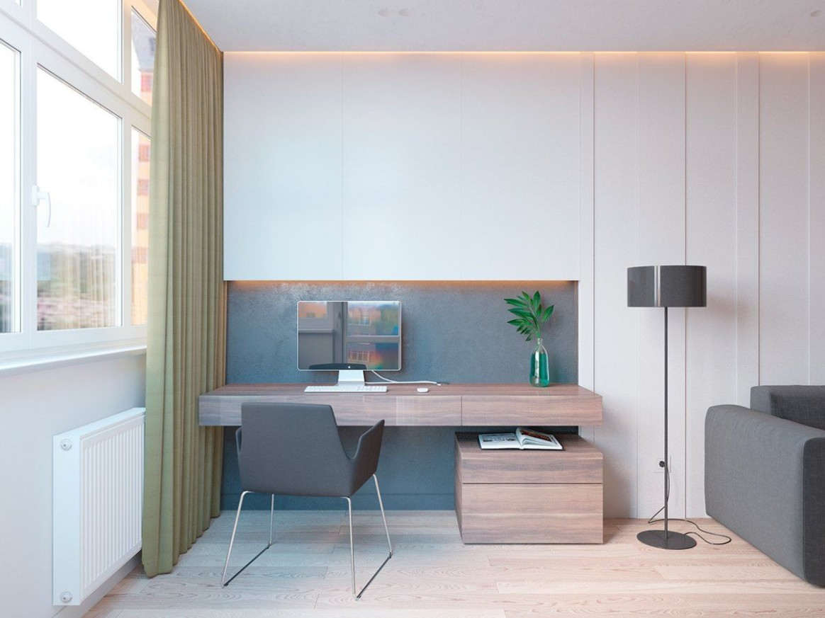 8 Ideas For A One Bedroom Apartment With Study (Includes Floor  - Apartment Office Design