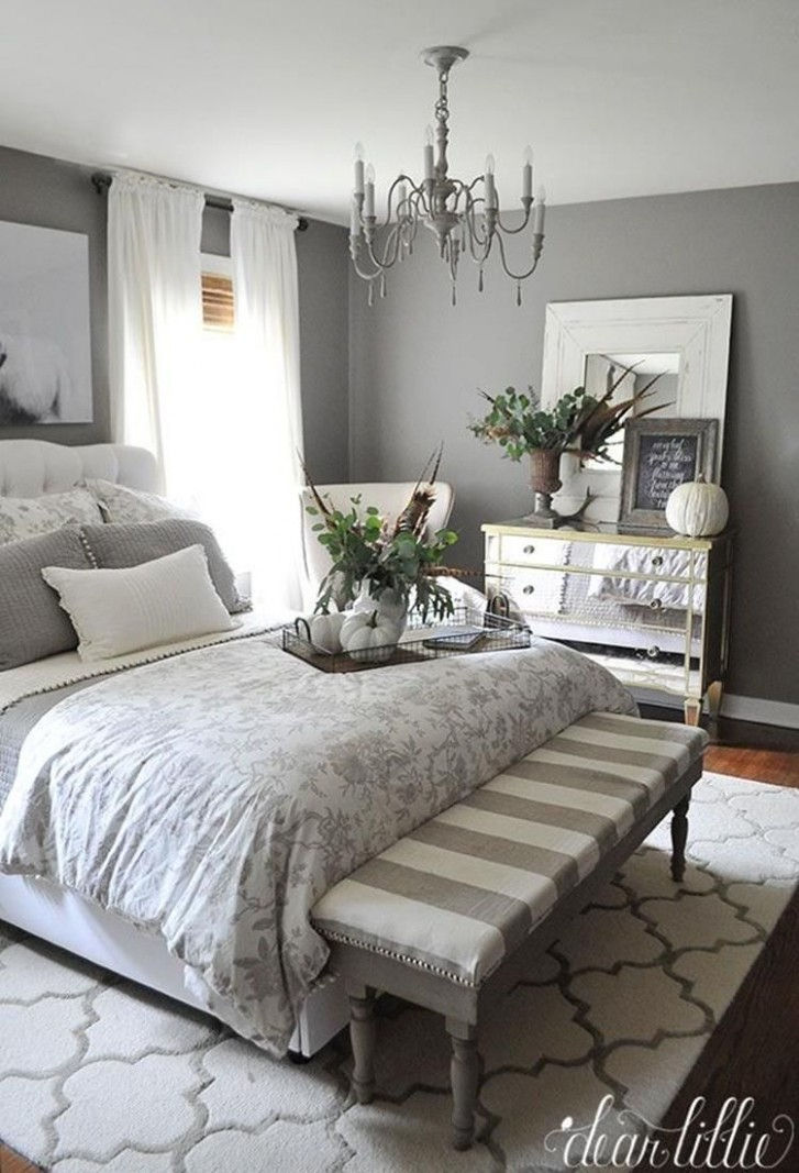8 Perfect Farmhouse Bedroom with Grey Paint Color - DecoRealistic  - Bedroom Ideas With Grey Walls