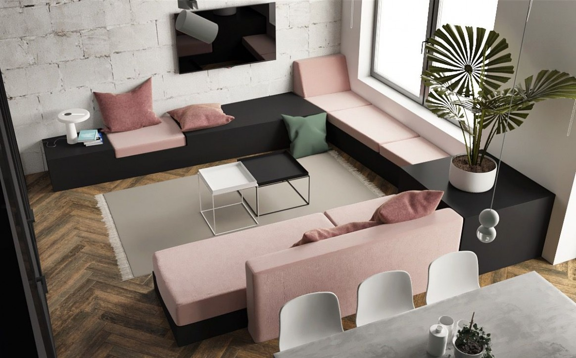 8 Studio Apartments With Inspiring Modern Decor Themes  Pink  - Apartment Design Themes