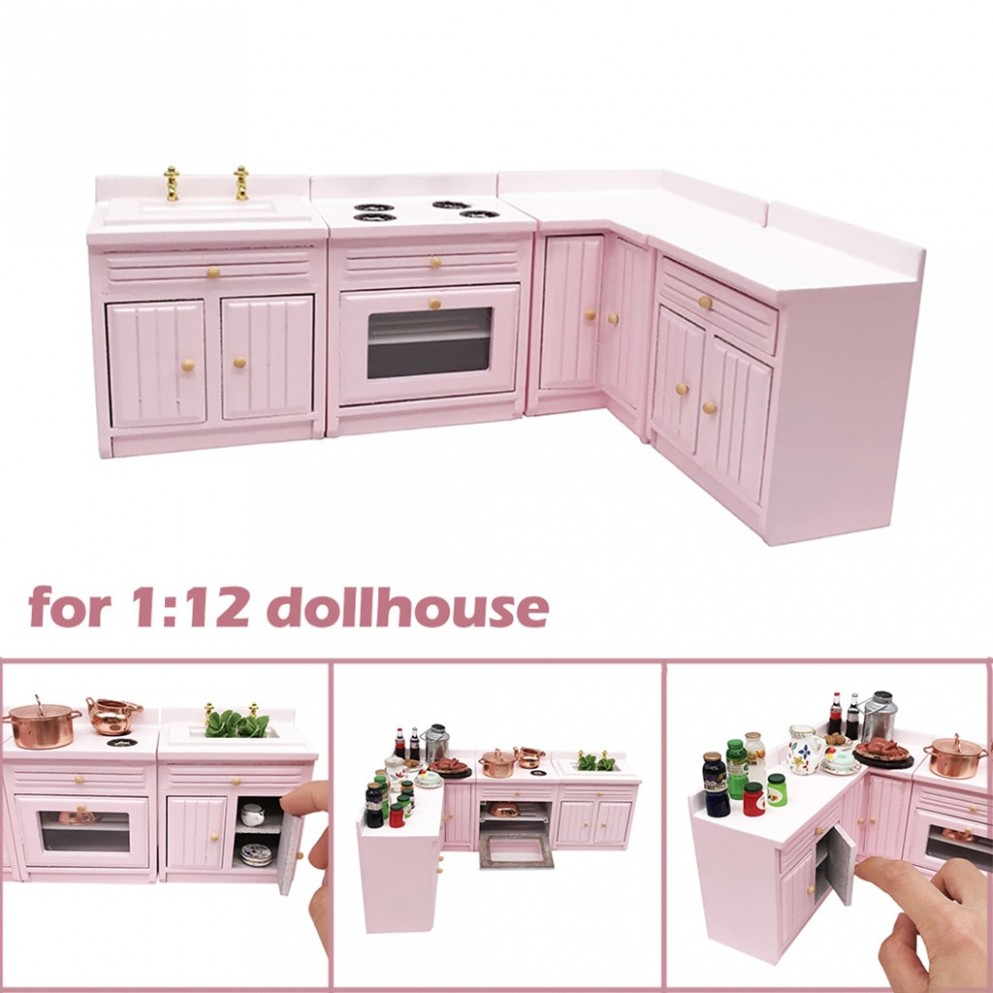 9/92 Dollhouse Miniature Furniture Wooden Kitchen Cabinet Set  - Dollhouse Kitchen Cabinet Kit