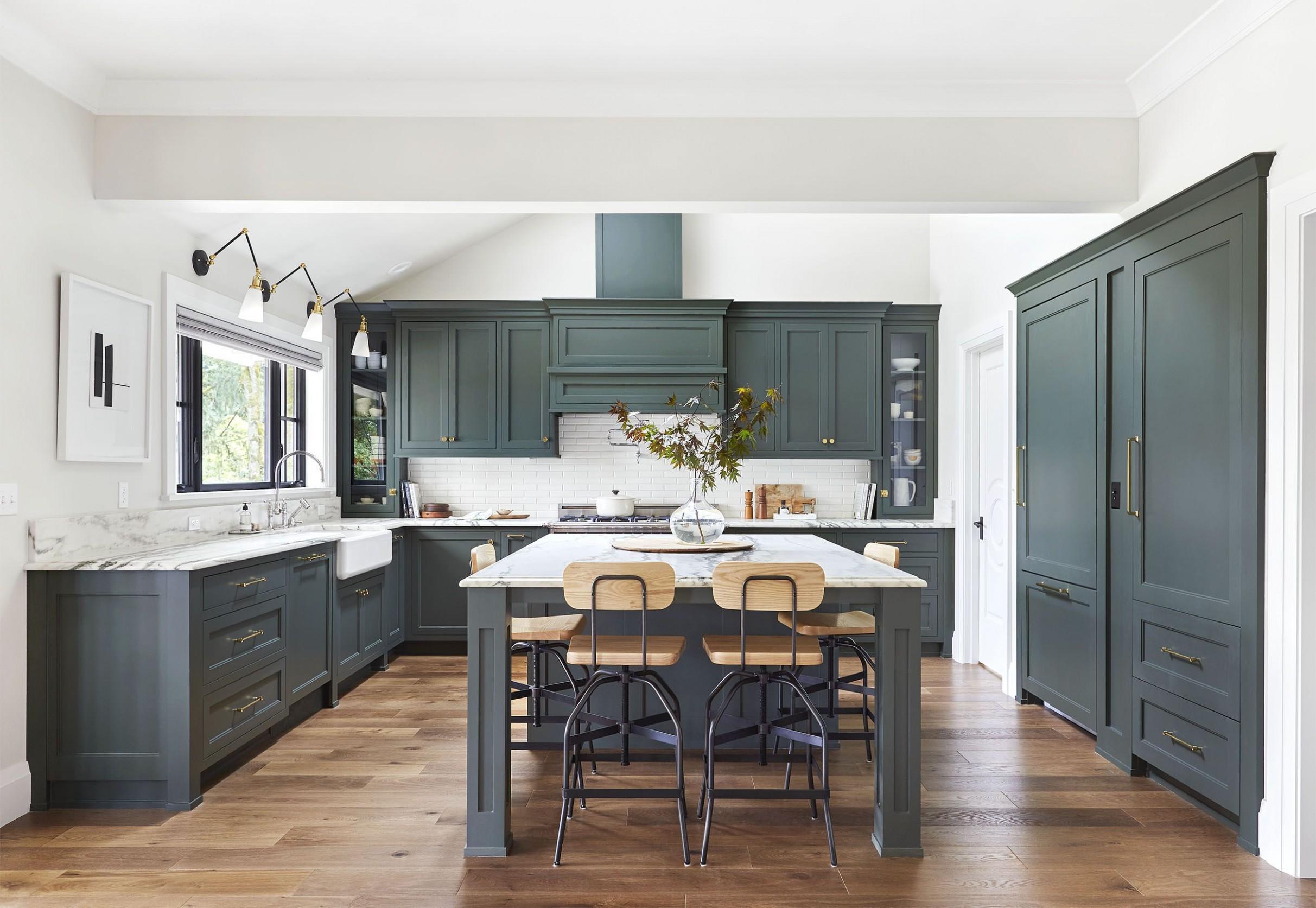 9 Best Green Kitchens - Ideas for Green Kitchen Design - Go Green Kitchen Cabinets