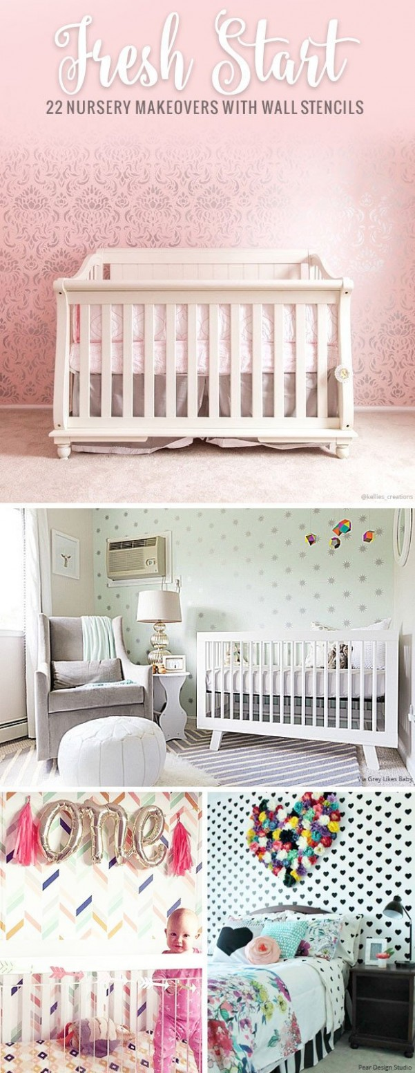 9 Nursery Makeovers with Wall Stencils - Colorful DIY Decor  - Baby Room Stencils